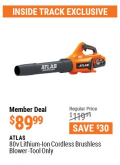 Harbor Freight ITC Coupon ATLAS 80V LITHIUM-ION BRUSHLESS BLOWER Lot No. 56994 Expired: 4/29/21 - $89.99