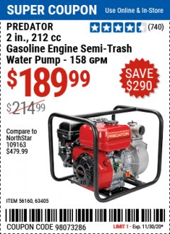 "Harbor Freight Coupon 2"" SEMI-TRASH GASOLINE ENGINE WATER PUMP (212 CC) Lot No. 56160/63405 Expired: 11/30/20 - $189.99"