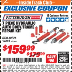 Harbor Freight ITC Coupon 7 PIECE HYDRAULIC AUTO BODY/FRAME REPAIR KIT Lot No. 60726/94681 Expired: 1/31/19 - $159.99
