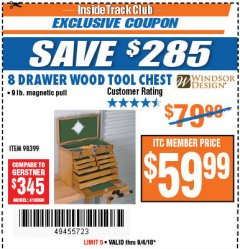Harbor Freight ITC Coupon EIGHT DRAWER WOOD TOOL CHEST Lot No. 62585/94538 Expired: 9/4/18 - $59.99