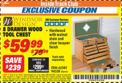 Harbor Freight ITC Coupon EIGHT DRAWER WOOD TOOL CHEST Lot No. 62585/94538 Expired: 4/30/19 - $59.99