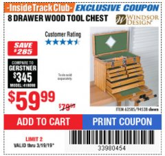 Harbor Freight ITC Coupon EIGHT DRAWER WOOD TOOL CHEST Lot No. 62585/94538 Expired: 3/19/19 - $59.99