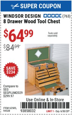 Harbor Freight Coupon EIGHT DRAWER WOOD TOOL CHEST Lot No. 62585/94538 EXPIRES: 6/30/20 - $64.99