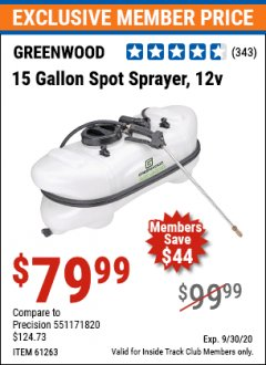 Harbor Freight ITC Coupon 12 VOLT, 15 GALLON SPOT SPRAYER Lot No. 9583/61263 Expired: 9/30/20 - $79.99