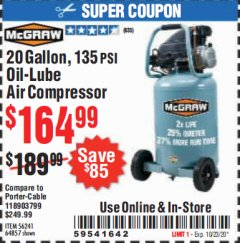 Harbor Freight Coupon 20 GALLON, 135 PSI OIL-LUBE AIR COMPRESSOR Lot No. 56241  Expired: 10/13/20 - $164.99
