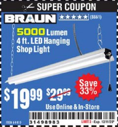 Harbor Freight Coupon 5000 LUMEN 4 FT. LED HANGING SHOP LIGHT Lot No. 64410 Valid Thru: 12/11/20 - $19.99