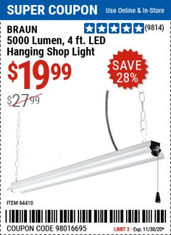 Harbor Freight Coupon 5000 LUMEN 4 FT. LED HANGING SHOP LIGHT Lot No. 64410 Expired: 11/30/20 - $19.99