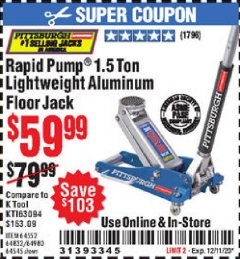 Harbor Freight Coupon RAPID PUMP 1.5 TON LIGHTWEIGHT ALUMINUM FLOOR JACK Lot No. 64552/64832/64980/64545 Valid Thru: 12/11/20 - $59.99