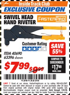 Harbor Freight ITC Coupon SWIVEL HEAD HAND RIVETER Lot No. 40690 Expired: 7/31/18 - $7.99