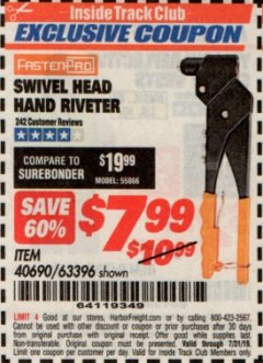 Harbor Freight ITC Coupon SWIVEL HEAD HAND RIVETER Lot No. 40690 Expired: 7/31/19 - $7.99