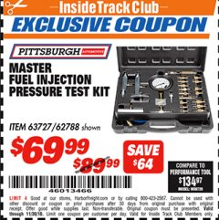 Harbor Freight ITC Coupon MASTER FUEL INJECTION PRESSURE TEST KIT Lot No. 97706 Expired: 11/30/18 - $69.99