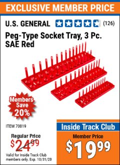 Harbor Freight ITC Coupon US GENERAL PEG TYPE SOCKET TRAY, 3PC METRIC Lot No. 70018 Expired: 10/31/20 - $19.99