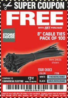 "Harbor Freight Free Coupon 8"" CABLE TIES PACK OF 100 Lot No. 1142/60265/69402/34635/60263/69403 EXPIRES: 6/15/19 - FWP"