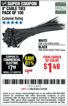 "Harbor Freight Coupon 8"" CABLE TIES PACK OF 100 Lot No. 1142/60265/69402/34635/60263/69403 Expired: 2/23/20 - $1.49"