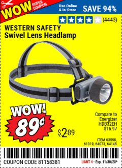 Harbor Freight Coupon SWIVEL LENS HEADLAMP Lot No. 63598/61319/64073/64145 Valid Thru: 11/30/20 - $0.89