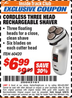 Harbor Freight ITC Coupon CORDLESS THREE HEAD RECHARGEABLE SHAVER Lot No. 60420/40195 Expired: 9/30/18 - $6.99