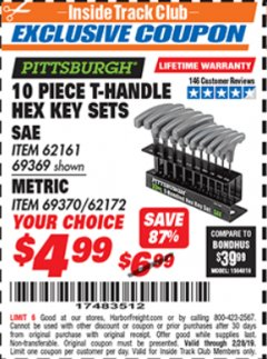 Harbor Freight ITC Coupon 10 PIECE T-HANDLED HEX KEY SETS Lot No. 37861/62161/69369/37862/69370/62172 Valid Thru: 2/28/19 - $4.99