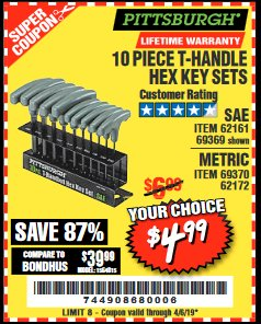 Harbor Freight Coupon 10 PIECE T-HANDLED HEX KEY SETS Lot No. 37861/62161/69369/37862/69370/62172 Valid Thru: 4/5/19 - $4.99