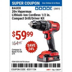 Harbor Freight Coupon BAUER 20V HYPERMAX LITHIUM CORDLESS POLE SAW TOOL ONLY Lot No. 64996 Valid Thru: 1/28/21 - $59.99