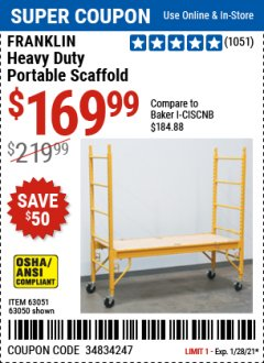 Harbor Freight Coupon FRANKLIN HEAVY DUTY PORTABLE SCAFFOLD Lot No. 63051, 63050 Valid Thru: 1/28/21 - $169.99