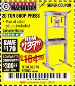 Harbor Freight Coupon 20 TON SHOP PRESS Lot No. 32879/60603 Expired: 12/20/18 - $139.99