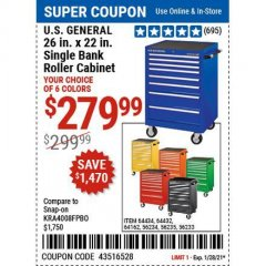 Harbor Freight Coupon U.S. GENERAL 26 IN. X 22 IN. SINGLE BANK ROLLER CABINET Lot No. 64434/56234/64162/56235/56233 Valid Thru: 1/28/21 - $279.99