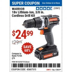 Harbor Freight Coupon WARRIOR 18V LITHIUM-ION, 3/8 IN. CORDLESS DRILL KIT Lot No. 56122/64118 Valid Thru: 1/29/21 - $24.99