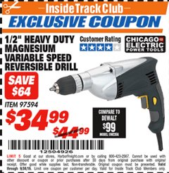 "Harbor Freight ITC Coupon 1/2"" LOW SPEED ELECTRIC DRILL Lot No. 97594 Expired: 9/30/18 - $34.99"
