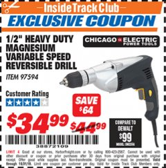 "Harbor Freight ITC Coupon 1/2"" LOW SPEED ELECTRIC DRILL Lot No. 97594 Expired: 10/31/18 - $34.99"