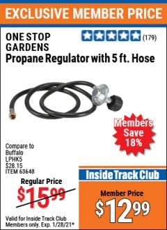 Harbor Freight ITC Coupon PROPANE REGULATOR WITH5 FT. HOSE Lot No. 63648 Valid: 1/1/21 1/28/21 - $12.99