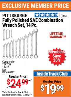 Harbor Freight ITC Coupon FULLY POLISHED SAE COMBINATION WRENCH SET, 14 PC Lot No. 68792 Valid: 1/1/21 1/28/21 - $19.99