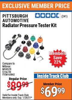 Harbor Freight ITC Coupon AUTOMOTIVE RADIATOR PRESSURE TESTER KIT Lot No. 63862 Valid: 1/1/21 1/28/21 - $69.99