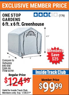 Harbor Freight ITC Coupon ONE STOP GARDENS 6FT X 6FT GREENHOUSE  Lot No. 63781 Valid: 1/1/21 1/28/21 - $99.99