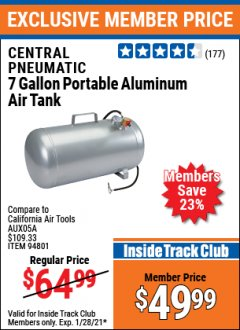 Harbor Freight ITC Coupon CENTRAL PNEUMATIC 7 GALLON ALUMINUM PORTABLE AIR TANK Lot No. 94801 Valid: 1/10/21 1/28/21 - $49.99