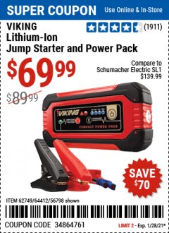 Harbor Freight Coupon VIKING JUMP STARTER AND POWER PACK Lot No. 62749/64412/56798 Valid Thru: 1/28/21 - $69.99