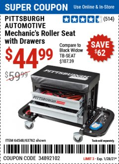 Harbor Freight Coupon PITTSBURGH AUTOMOTIVE MECHANICS ROLLER SEAT WITH DRAWERS Lot No. 64548/63762 Valid Thru: 1/28/21 - $44.99