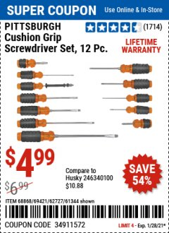 Harbor Freight Coupon PITTSBURGH CUSHION GRIP SCREWDRIVER SET, 12 PC Lot No. 68868/69421/62727/61344 Valid Thru: 1/28/21 - $4.99