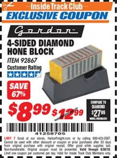 Harbor Freight ITC Coupon 4-SIDED DIAMOND HONE BLOCK Lot No. 92867 Expired: 6/30/18 - $8.99