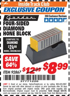 Harbor Freight ITC Coupon 4-SIDED DIAMOND HONE BLOCK Lot No. 92867 Expired: 8/31/19 - $8.99