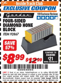 Harbor Freight ITC Coupon 4-SIDED DIAMOND HONE BLOCK Lot No. 92867 Expired: 12/31/18 - $8.99