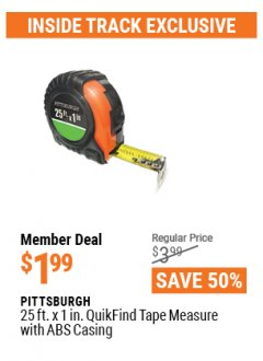 Harbor Freight ITC Coupon PITTSBURGH 25FT. X 1IN. QUIKFIND TAPE MEASURE WITH ABS CASING Lot No. 69030 Expired: 4/29/21 - $1.99