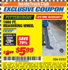 Harbor Freight ITC Coupon 1000 FT. MEASURING WHEEL Lot No. 95701 Dates Valid: 12/31/69 - 5/31/19 - $5.99