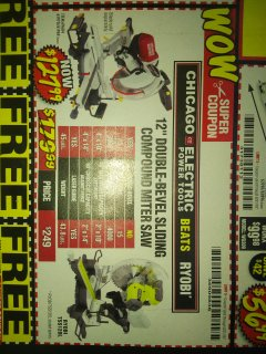 "Harbor Freight Coupon 12"" SLIDING COMPOUND DOUBLE-BEVEL MITER SAW WITH LASER GUIDE Lot No. 69684/61776/61969/61970 Expired: 8/31/18 - $127.99"