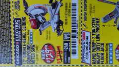 "Harbor Freight Coupon 12"" SLIDING COMPOUND DOUBLE-BEVEL MITER SAW WITH LASER GUIDE Lot No. 69684/61776/61969/61970 Expired: 2/23/19 - $129.99"