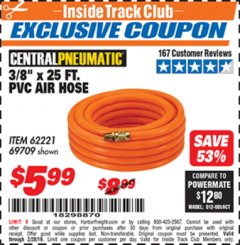 "Harbor Freight ITC Coupon 3/8"" x 25 FT. PVC AIR HOSE Lot No. 69709/61977/62221 Expired: 2/28/19 - $5.99"