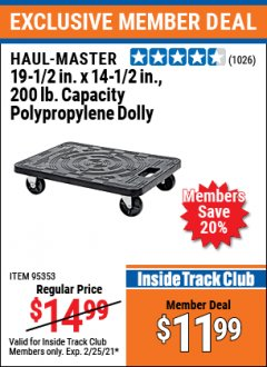 Harbor Freight ITC Coupon HAUL-MASTER 19-1/2IN. X 14 1/2IN., 200LB. CAPACITY POLYPROPYLENE DOLLY Lot No. 95353 Expired: 2/25/21 - $11.99
