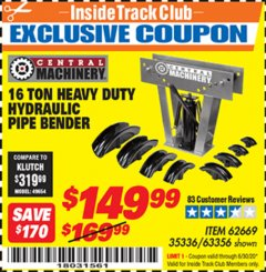 Harbor Freight ITC Coupon 16 TON HYDRAULIC PIPE BENDER Lot No. 35336/62669 Expired: 6/30/20 - $149.99