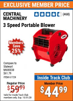 Harbor Freight ITC Coupon 3 SPEED PORTABLE BLOWER Lot No. 61729/93231/69721 Expired: 10/31/20 - $44.99