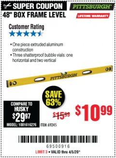 "Harbor Freight Coupon 48"" BOX FRAME LEVEL Lot No. 69245 EXPIRES: 6/30/20 - $10.99"
