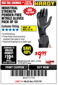 Harbor Freight Coupon POWDER-FREE NITRILE GLOVES PACK OF 50 Lot No. 68510/61742/68511/61744/68512/61743 Expired: 12/31/18 - $9.99